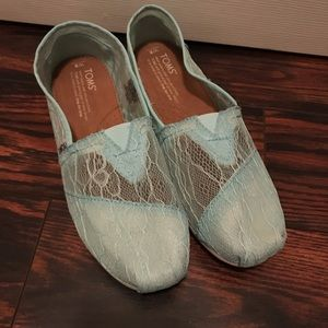 Toms Lace Slip Ons Green Size 8